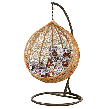 Cast aluminum outdoor patio garden rattan wicker egg shaped hanging cane swing chair with stand