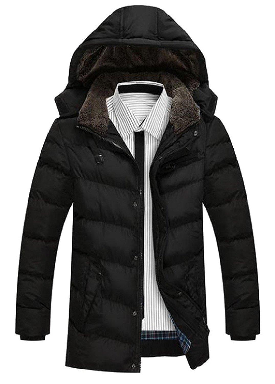 Winwinus Mens Casual Thicken Warm Full-Zip Plus Size Light Weight Down Coat