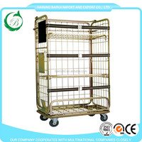 Launry roll cage cart laundry trolley cart with wheels/castors for laundry plant