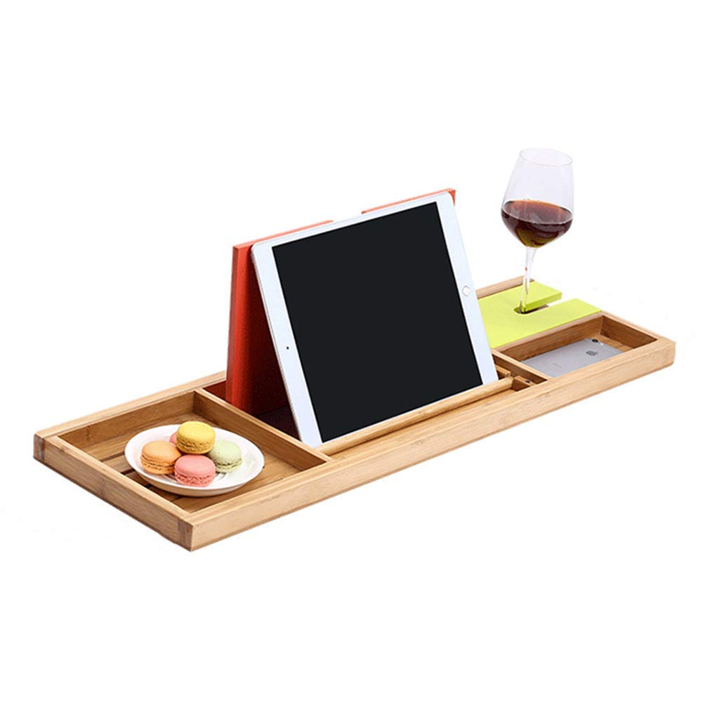 Bathroom Shelves Bathroom Hardware Bamboo Bathroom Tray Telescoping Bathtub Desk For Phone Laptop Notebook Wine Glasses Candles Bathroom Holder