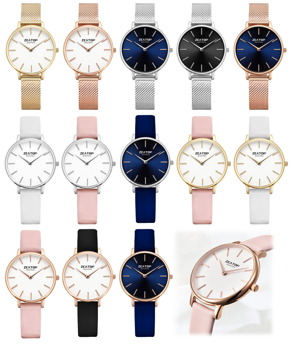 Blue Leather Sunray Face Quartz Ladies Watches Brands
