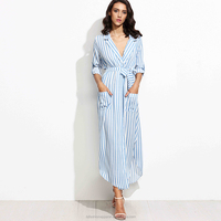 New Arrival Hot Sales Fashion Long Sleeve Sexy Deep V Neck Split Long Dress Striped Belted Long Shirt Dress