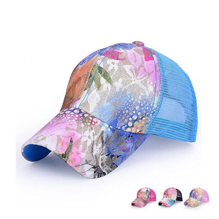 b0fc2142f41 Get Quotations · 2015 Style Cotton Lace Floral Print Trucker Cap Mesh  Snapback Cap Sun Protect Gorras Women Free