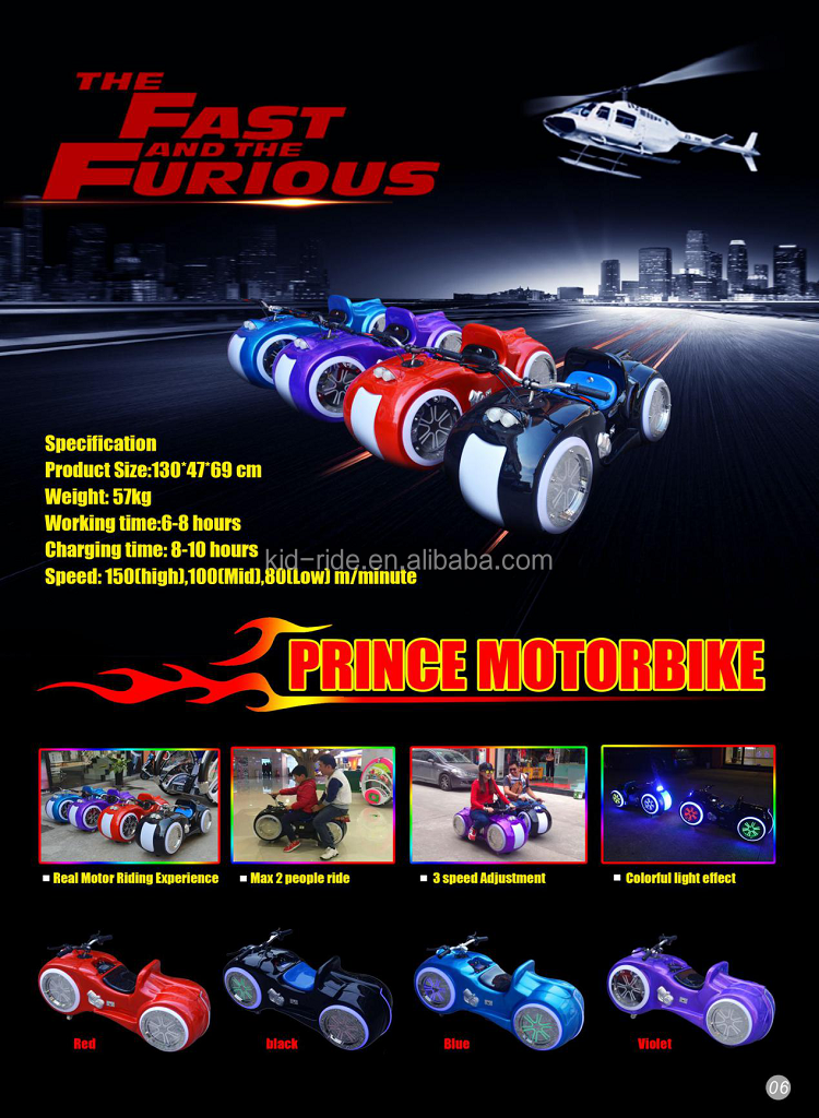 Plastic Material and Battery Power 12v battery prince moto electric kids cars factory outlet