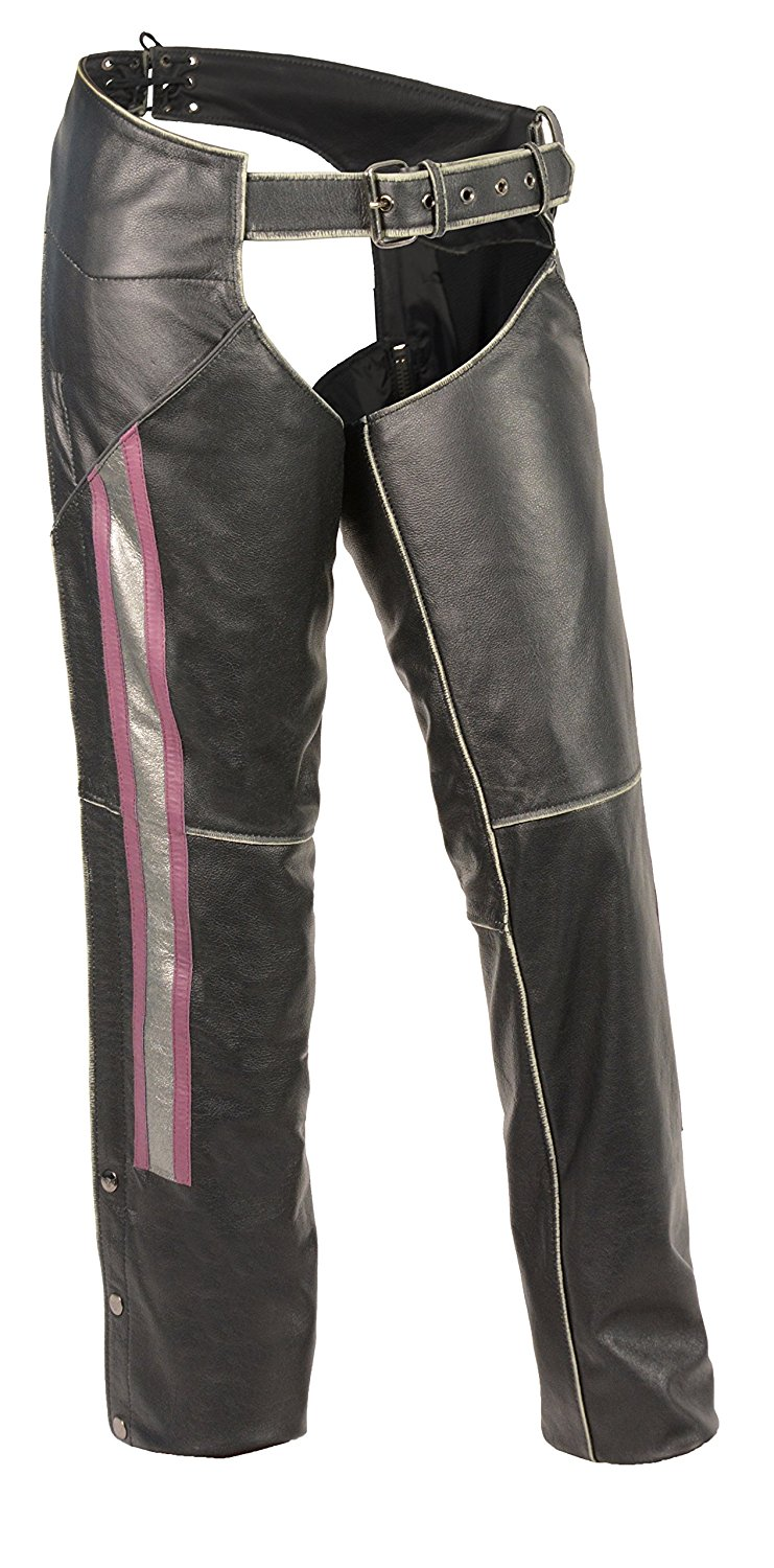 Milwaukee Leather Leather Womens Chaps Women's Rub-Off Low Rise Chap W/ Purple & Silver Accent Large Style # MLL6515-L-BLK/SLV/PUR
