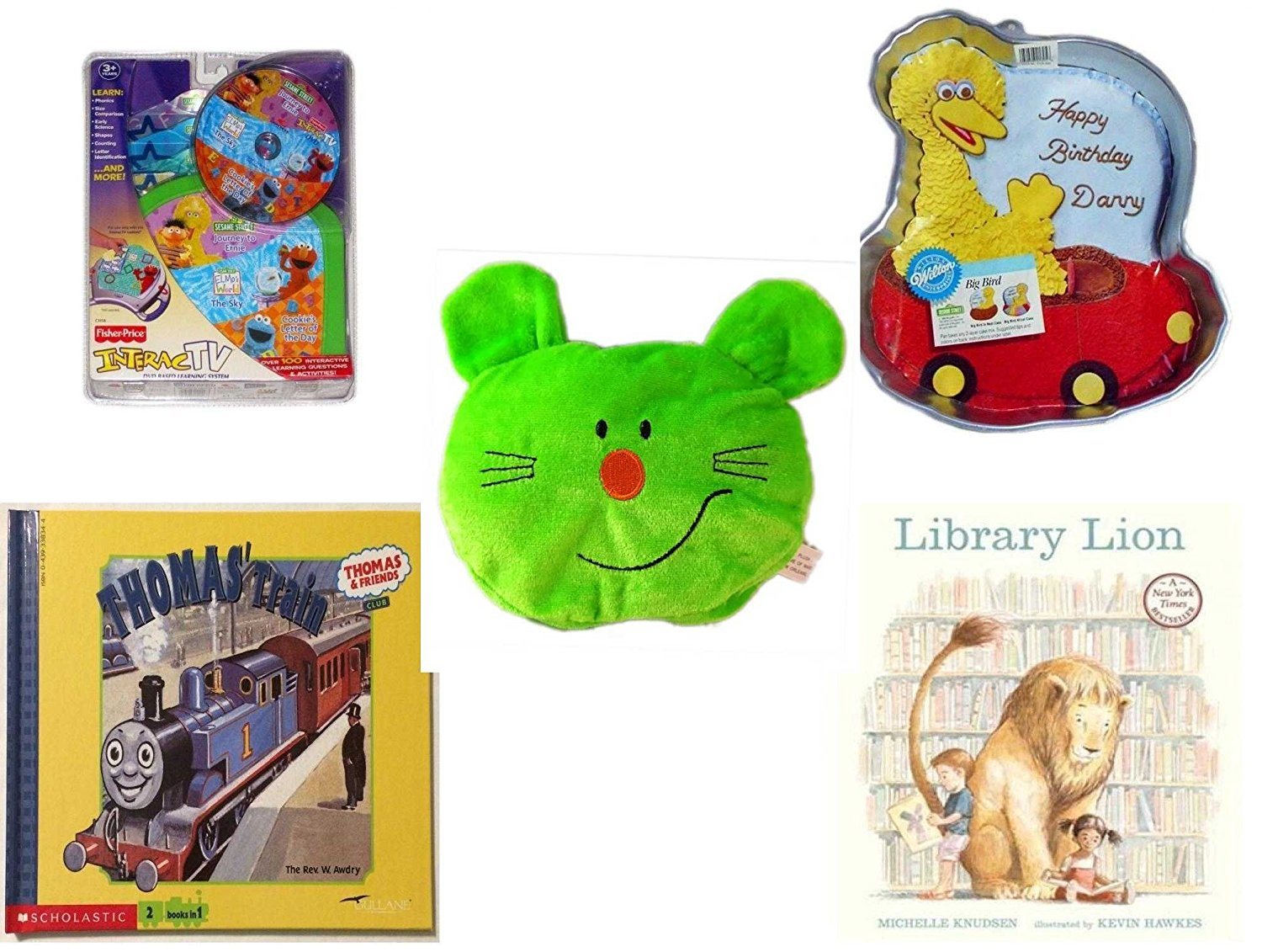 "Children's Gift Bundle - Ages 3-5 [5 Piece] - InteracTV Sesame Street Volume 1 - Sesame Street Big Bird Cake Pan - Plush Appeal Bright Green Kitty Cat Face Plush 5"" - Thomas & Friends: Thomas and G"