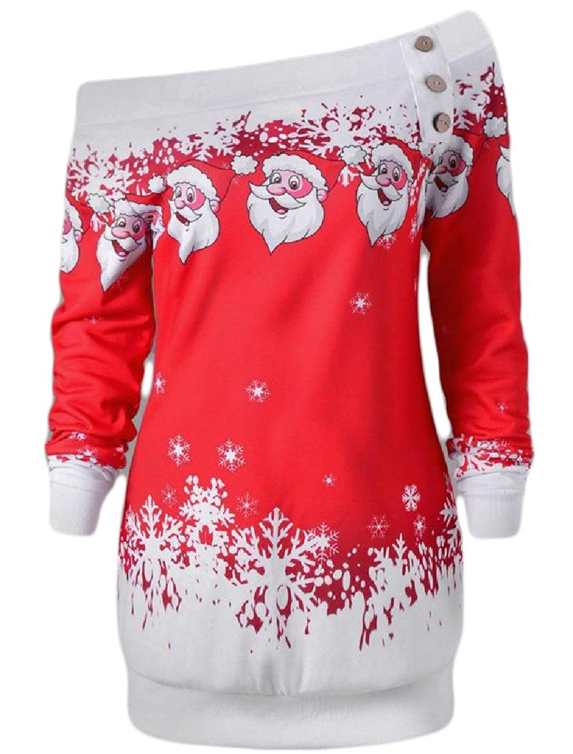 Sheng Xi Womens Button Down Off Shoulder Printed Christmas Tunic Pullover