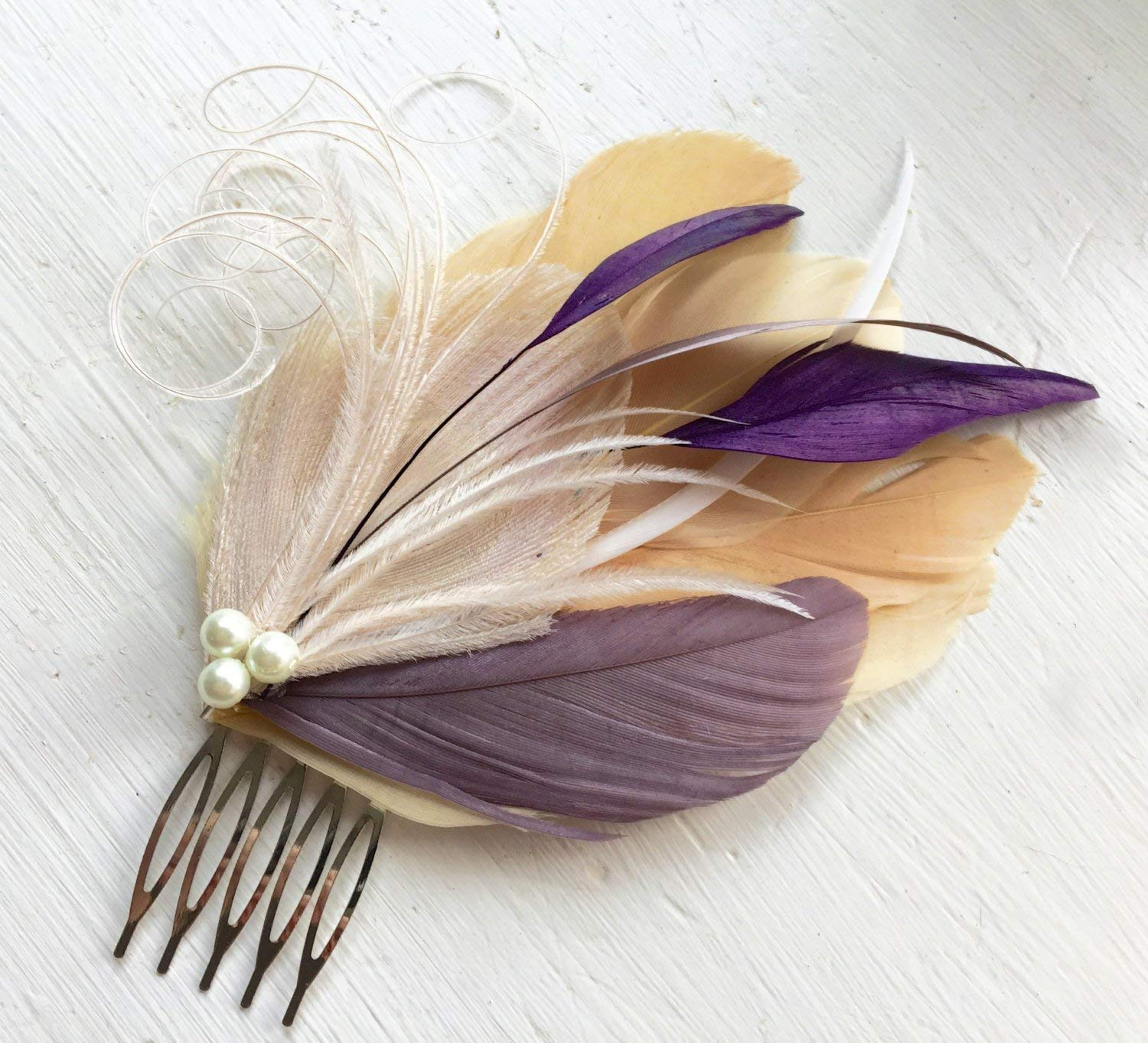 Oh Lucy Handmade LANE Peacock Feather Fascinator with Pearl, Feather Hair Comb, Bridal Hair Piece in Champagne, Grape Purple, Lilac, and Ivory