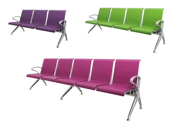 3 seater pu foam waiting chair airport bench chair