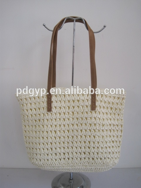 2016 Fashion Trends Handmade Beautiful White Paper Straw Beach Bag Ladies Handbags