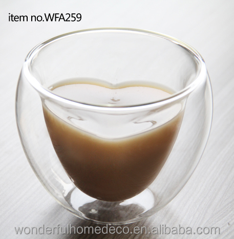 Funny 280ml Heart Shaped Double Wall Pyrex Glass Tea Cup