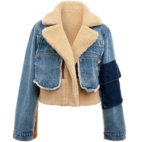 Lamb hair stitching denim short jacket female 2019 autumn and winter new long-sleeved wild fashion loose thickening