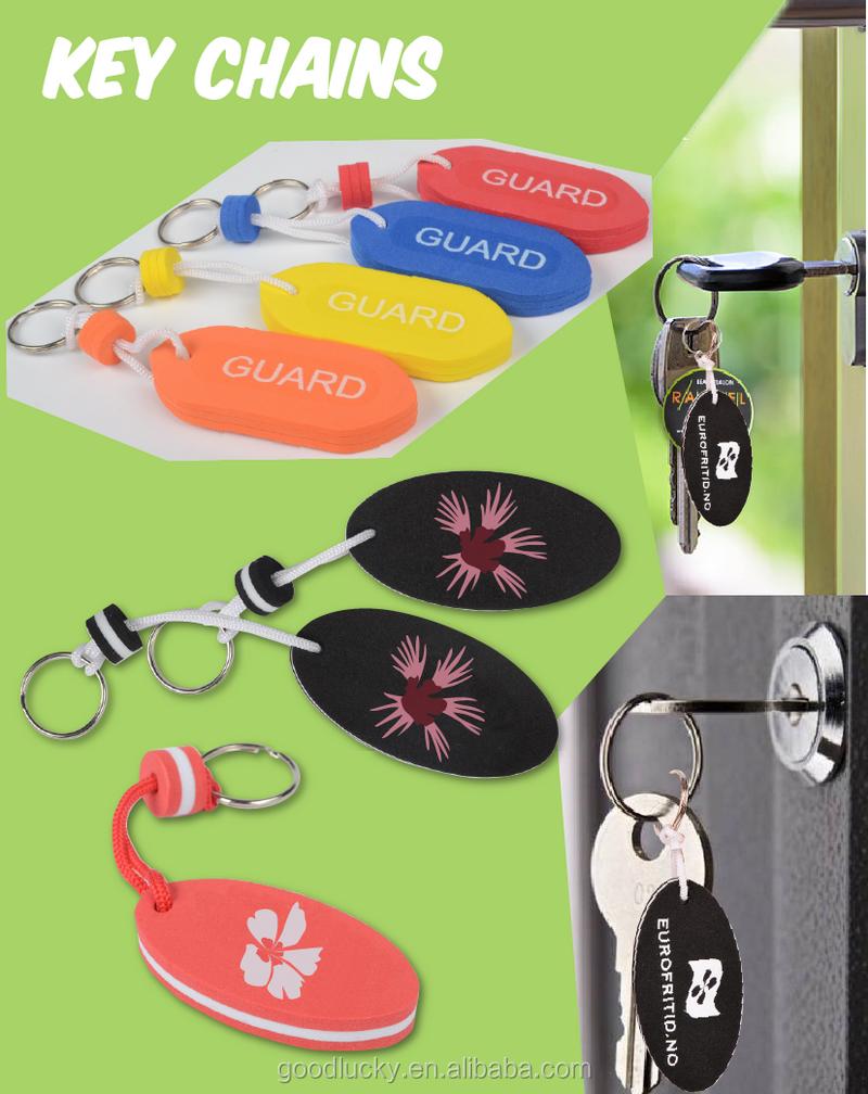卸売新デザインカスタムキーホルダーのロゴキーホルダーフローティングキーホルダー