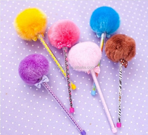 2018 best selling wedding souvenirs gifts novelty pom pom fluffy pens,novelty kawaii pens for kids, pink pens