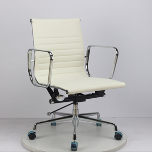 Modern Aluminum Chrome Base Medium Back Pure White Color PU Leather Upholstery Office Chair(FOH-CHR2)