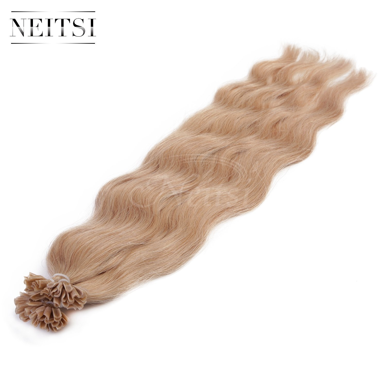 "Neitsi® 20"" 25s/lot 1g/s 100% Remy Human Hair Nail U Tip Hair Extension Natural Wave (18#)"