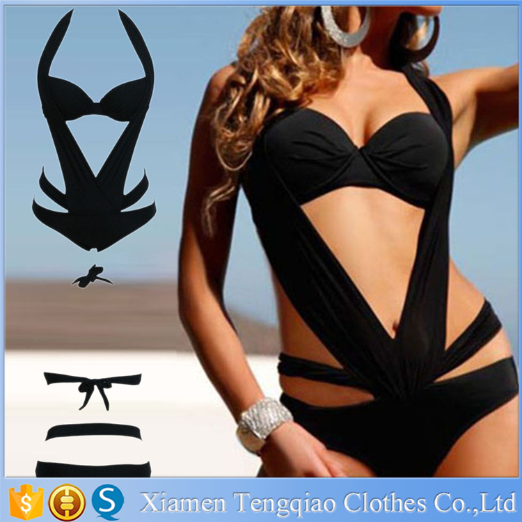 Black Girls Plicate Halter Private Label Monokini Swimwear Manufacturer