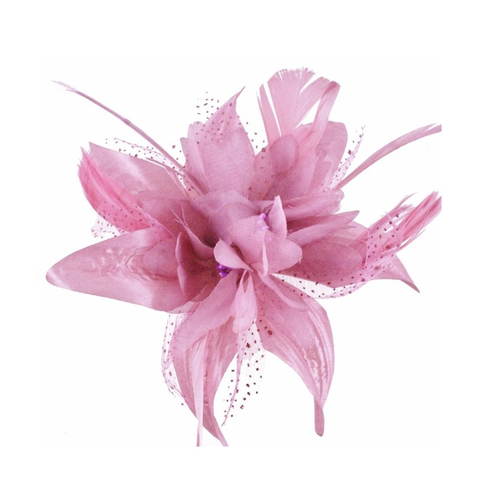 Buy Dusky Pink Flower And Spotted Net Bridal Hair Comb Fascinator In