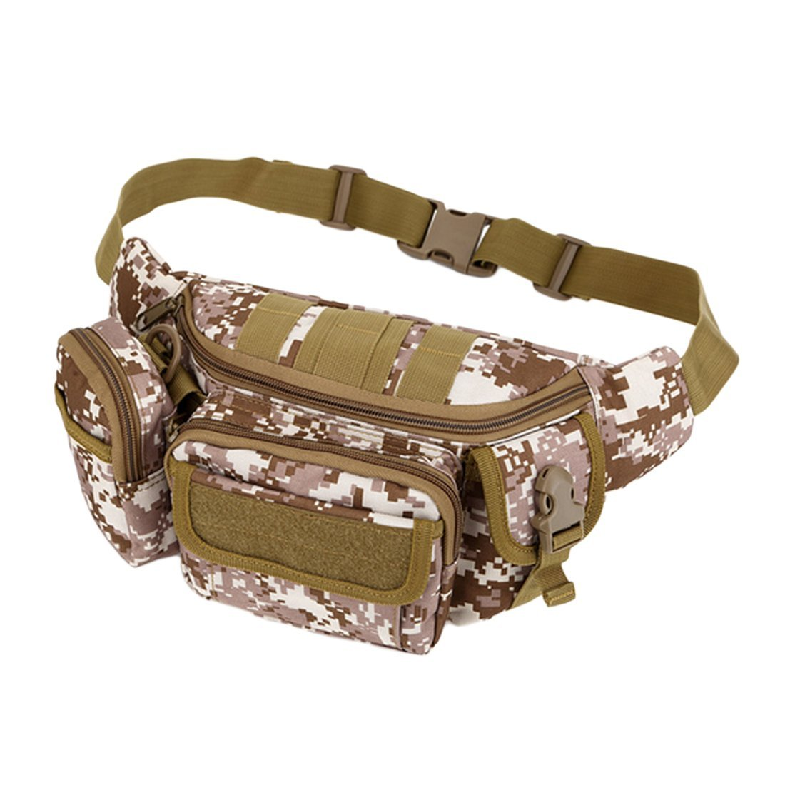 Nylon Sport Camping Pack Water Bottle Waist Bag Tactical Molle Waterproof Bags,Khaki
