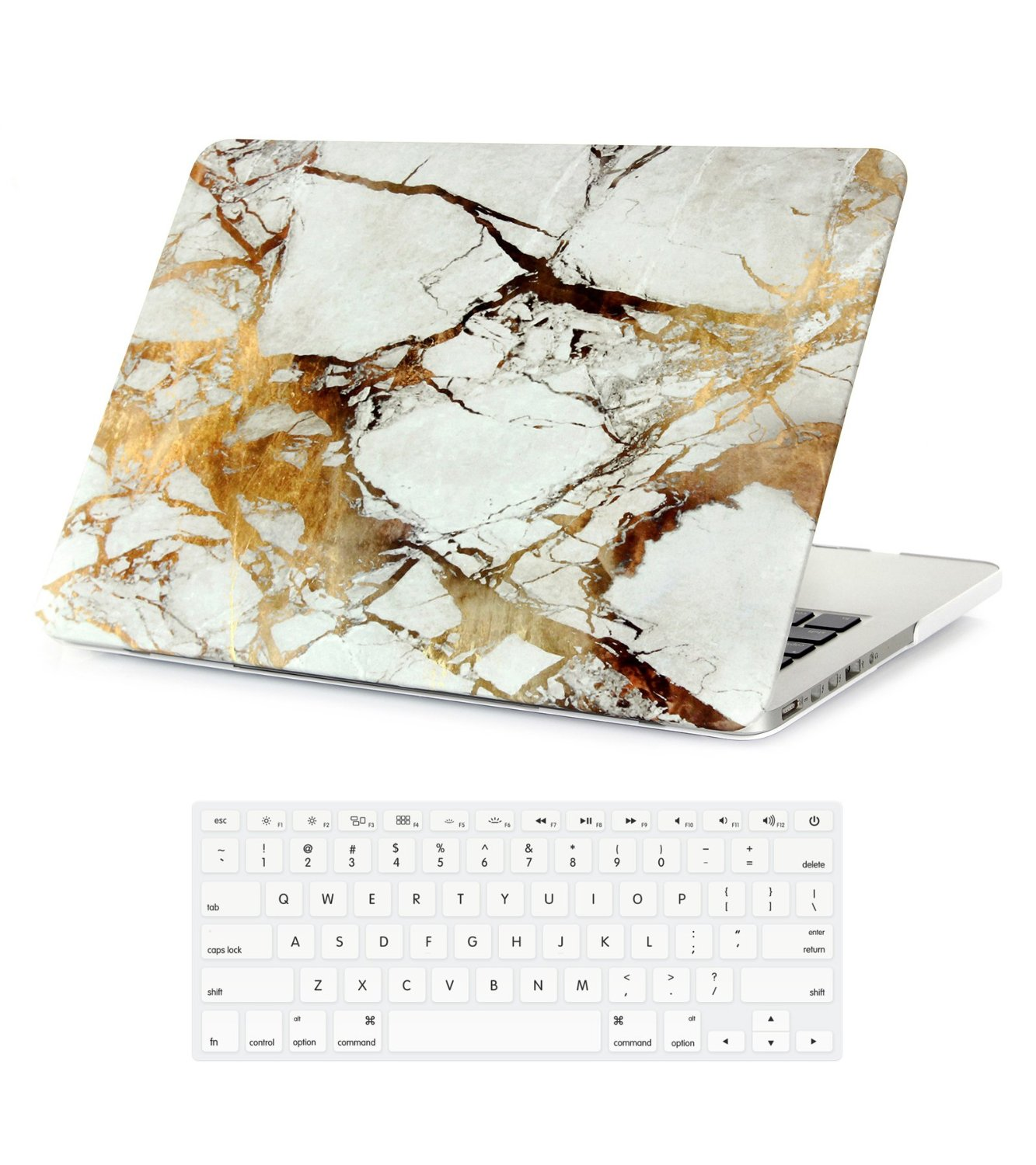 "MacBook Pro Retina Case 15 Inch Marble White Gold (NO CD-ROM), Plastic Hard Folio Case Cover & Keyboard Skin for MacBook Pro Retina 15"" (NO Disk Drive) Model A1398 Marble Pattern White and Gold"