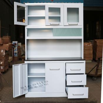 Putih Logam Lemari Dapur Aluminium Kabinet Rak Baja Anti Karat