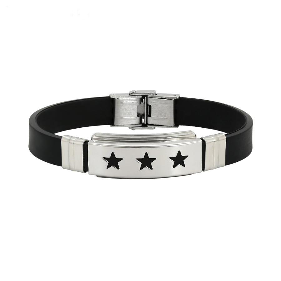 75874 XUPING Fashion Stainless Steel Jewelry Three Stars Engraved Bracelet for Women