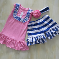 Newest Arrival Children Clothing Summer Outfits Baby Girls Link Pink Sleeveless Shirt And Navy Stripe Short Baby Outfits