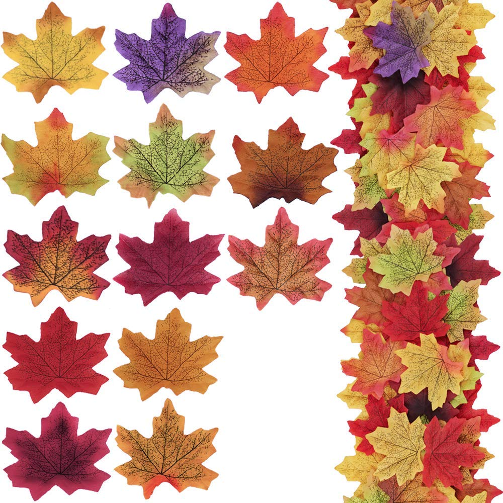"""Supla 650 Pcs 13 Colors Assorted Silk Artificial Fake Autumn Maple Leaves Fake Fall Leaf Foliage Bulk 3.15"""" L X 3.15"""" W for Fall Wedding Party Birthday Baby Shower Thanksgiving Table Door Decorations"""