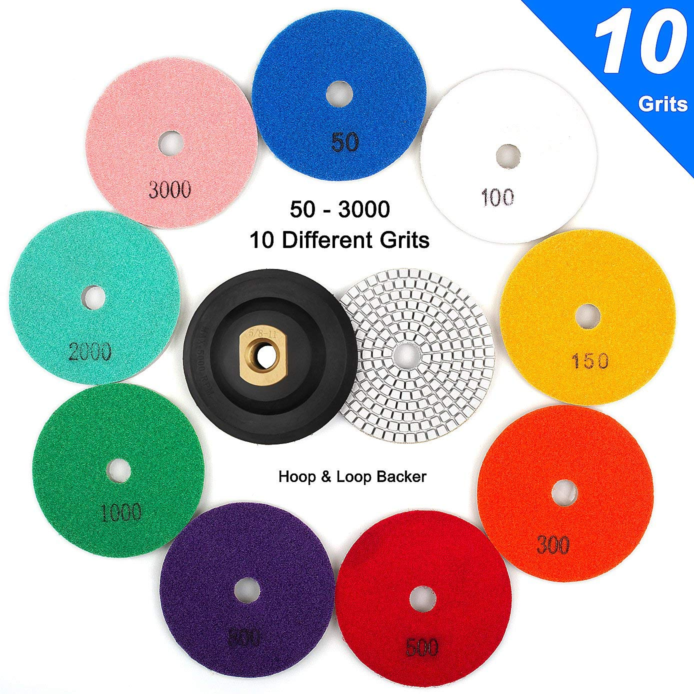 "CenterZ 4"" Wet Diamond Polishing Pad, 10 Pads 50 to 3000 Grit Set with 5/8"" 11 Arbor Polisher Velcro Backing Plate - Ideal Buffing Kit for Granite Concrete Marble Stone Countertop Tile Floor Grinder"