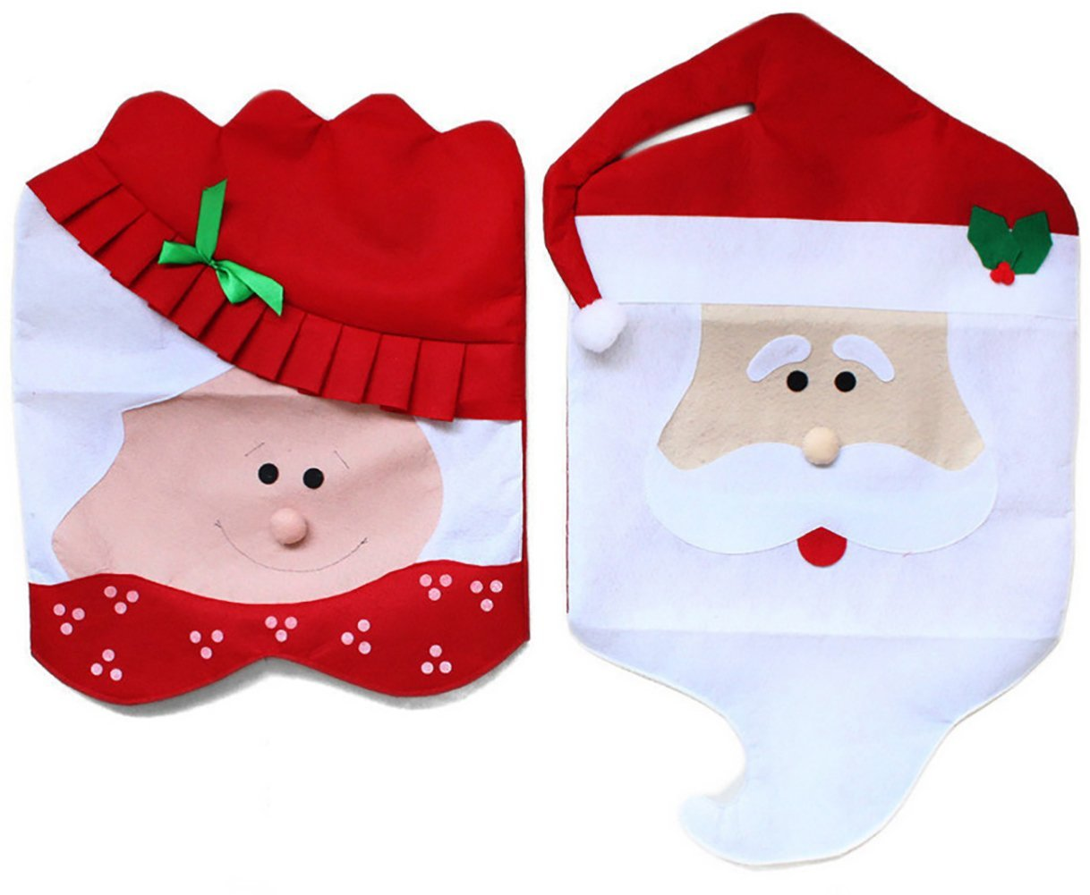 Mr & Mrs Santa Claus Red Hat Chair Cove Christmas Kitchen Chair Covers for Holiday Party Festive Dining Room