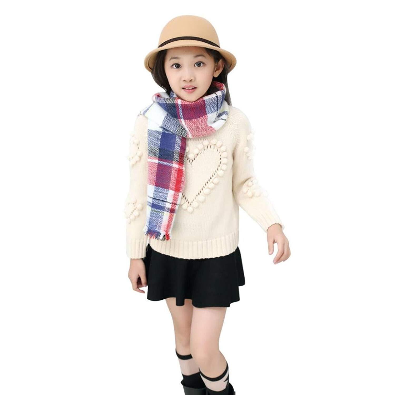 Creazy® Kids Girls Boys Grid Pattern Scarves Woolen Yarn Winter Warm Scarf