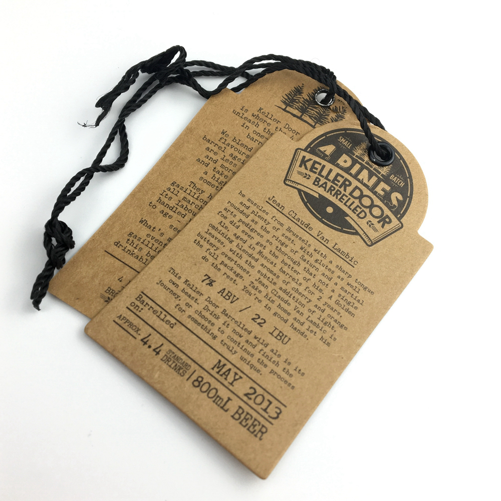 Custom logo recycled kraft card paper material hang tags label for garment