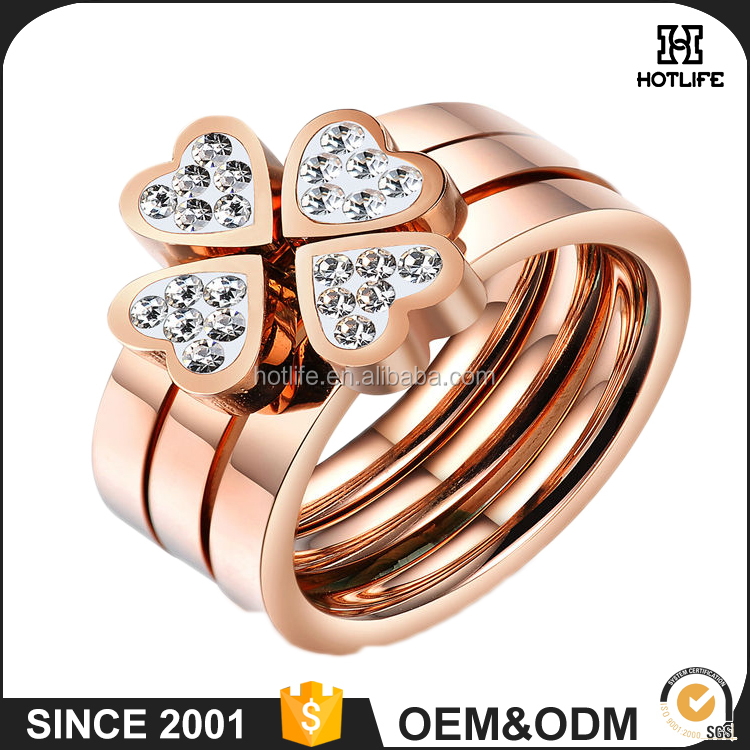 Fashion Ladies Style Latest Design Stainless Steel Rose Gold Ip Plating Cubic Zirconia Flower Wedding Ring