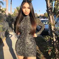 A0968T Western fashion Long sleeve snake skin print Serpentine printing women short bodycon bandage dresses