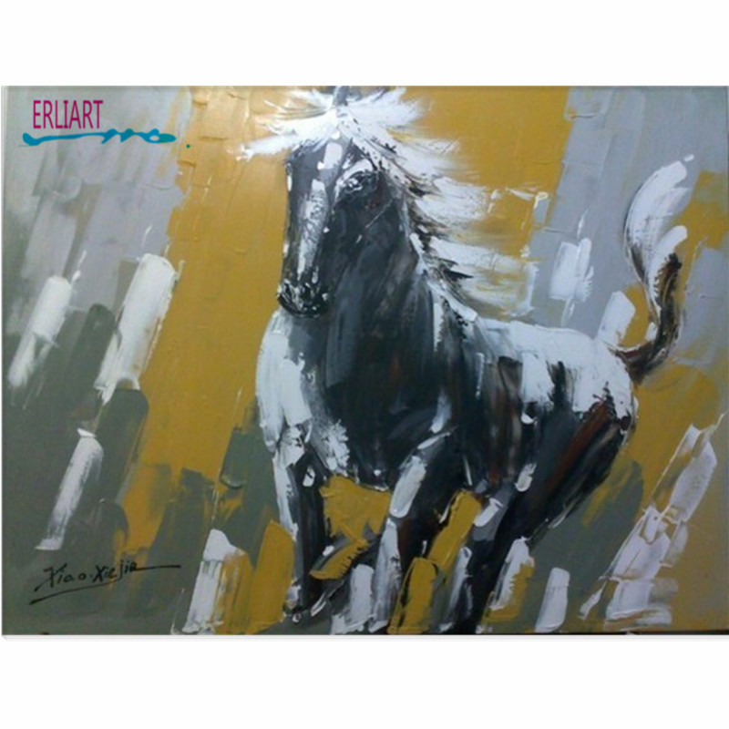 Horse Black And White Animal Oil Painting Vivid Picture  Home Decor Nature Animal Paintings Family Murals