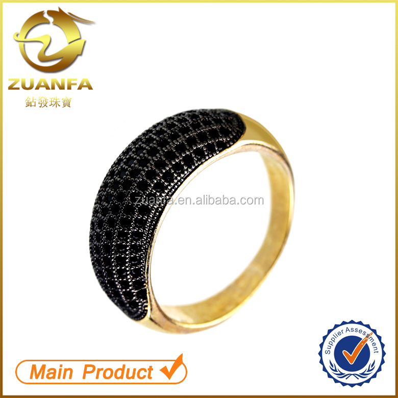 wholesale 925 sterling silver cz gold plated micro pave black zircon ring