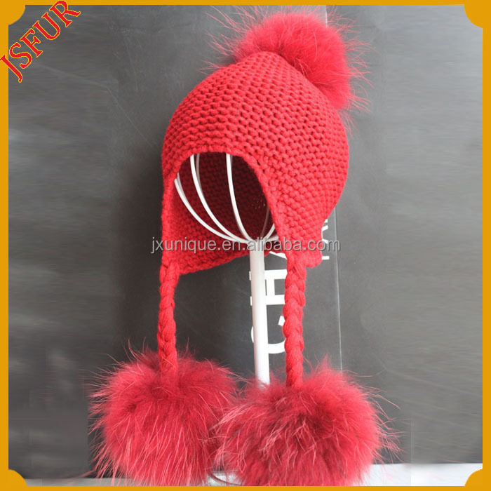New Design Custom Large Real Fur Three Balls Baby Knit Hat  Wool Baby Hat