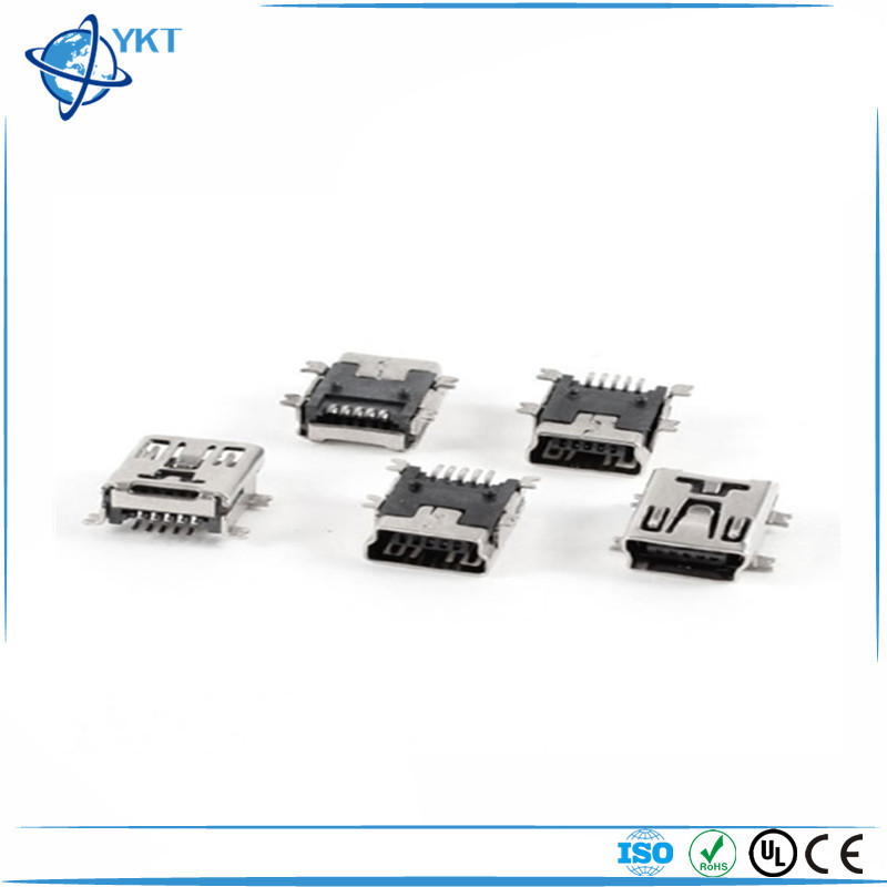 Mini USB Type B Female Port 5-Pin 180 Degree SMD PCB Jack Socket