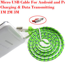 Free shipping 1M/2M/3M Nylon Micro USB Cable, Charger Data Sync USB Cable Cord  For Android Smart Phone for tablet PC