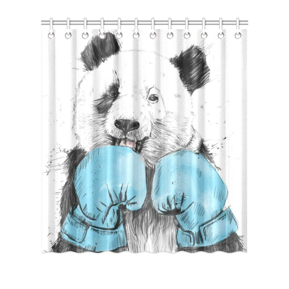 Get Quotations Boxing Panda Shower Curtain Waterproof Polyester Peva For Bathroom Stylish Decor 72x