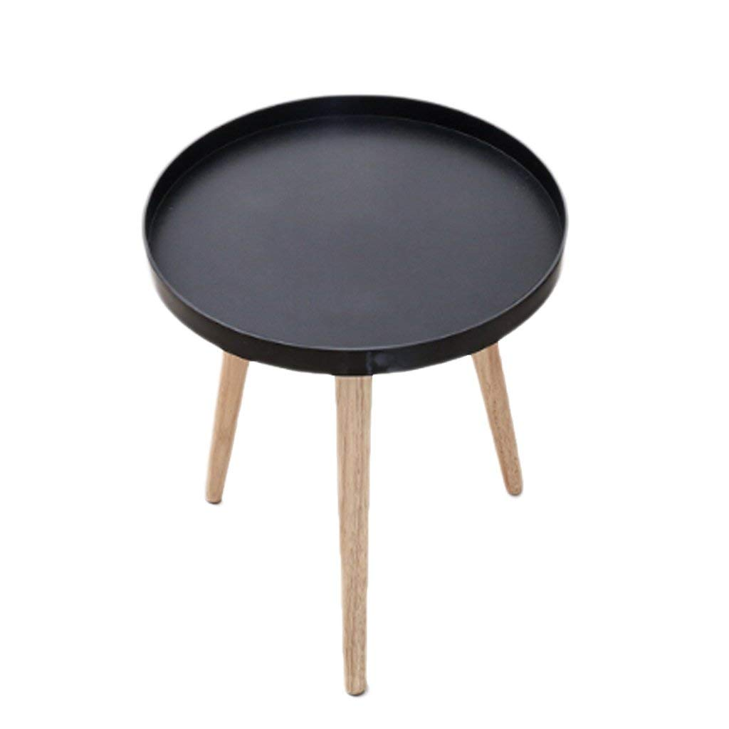 NUBAO Pine Wood Side Table Creative Small Coffee Table Small Round Tea Table Round Corners Several Triangular Tables Solid Wood Coffee Table Table Triangles Small Round Table (Color : Black)