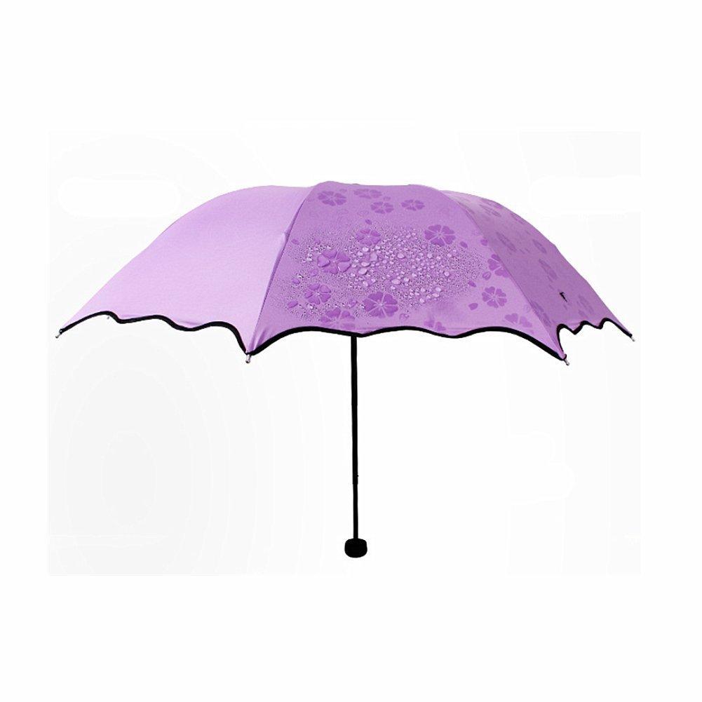 Bemodst® All Weather Dome Parasol Sun-rain Umbrella,Flowers Bloom Umbrella,triple Folding Ruffled Anti-uv Parasol - Sturdy, Portable and Lightweight for Easy Carrying (Purple)