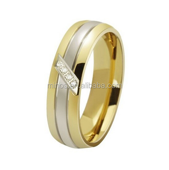 Gold Plated Micro Paved CZ Men's Women's Titanium Stainless Steel Wedding Fashion Cubic Zirconia Ring 6mm All Sizes