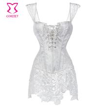 Branco Floral Lace & Brocade Corselet Mulheres Plus Size Cintura Formação Corset Steampunk Burlesque Vestido Sexy Vestidos de Casamento Gótico