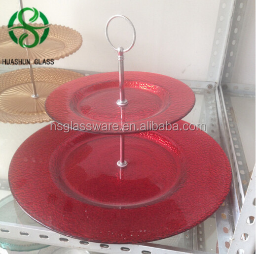 Handmade Wholesale Red Glass Charger Plates for Wedding Decoration
