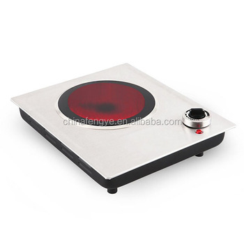Stainless steel single burner cooker hob ceramic glass