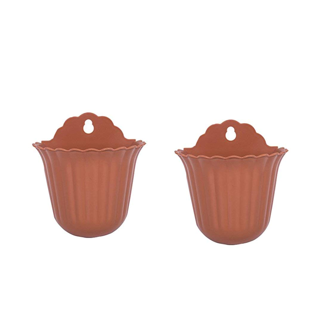 2 Pack Wall Planter, XSHION Wall Mounted Flower Pots/ Hanging Succulent Pots/ Hanging Planter Indoor Decorative (Pottery Color)