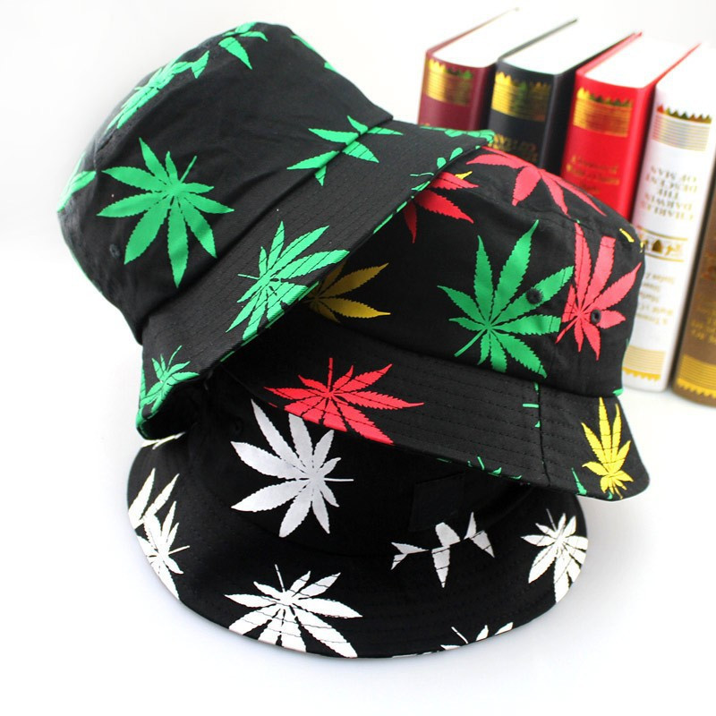 c3460af229634 Custom Hip Hop Green White Leaf Print Fishing Caps Weed Bucket Hats For Mens