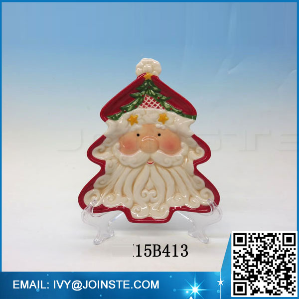 Wholesale bulk ceramic plates Christmas tree shaped cookie plate dinner plate