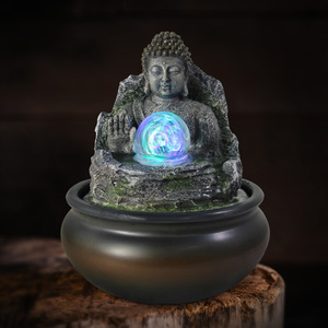 Wholesale resin praying indoor buddha water fountain for home decoration
